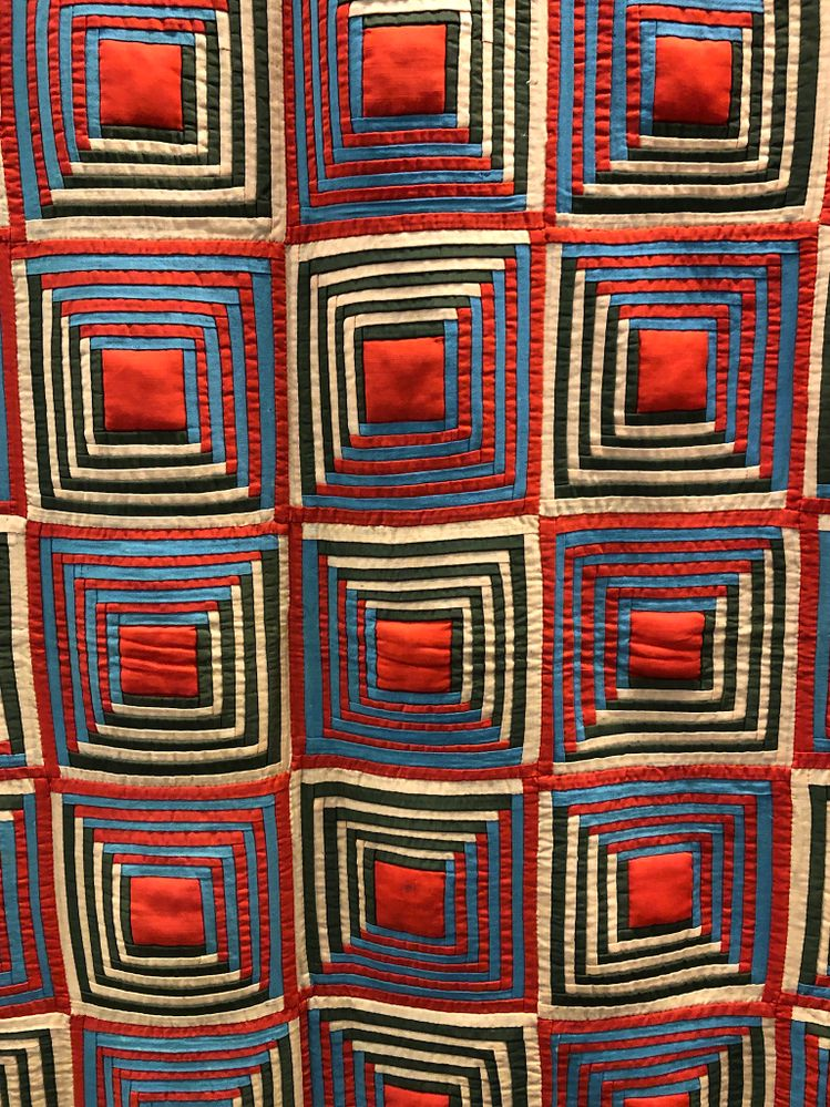 One of few quilts from US guys collection that was quite vibrant colour wise.Next two photos are details from a couple of  other ' lighter' ones.