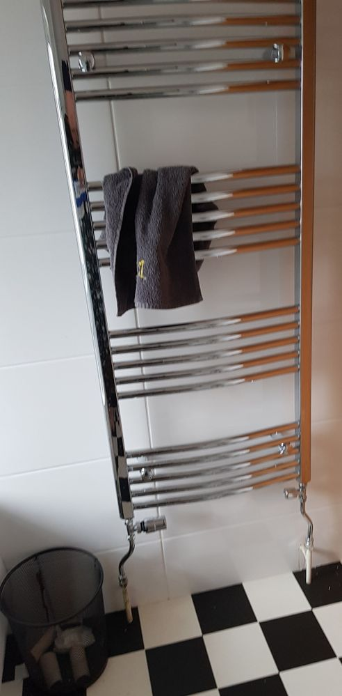 Funky heated towel rail plus a bin that to my surprise the children are actually using rather than just throwing loo roll tubes on the floor!