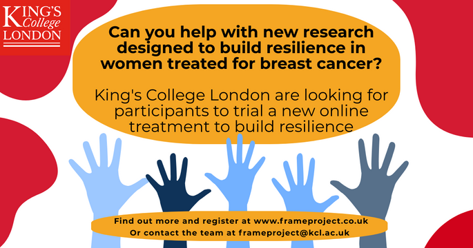 Can you help with new research designed to build resilience in women treated for breast cancer?